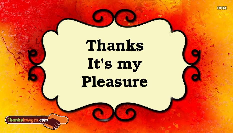 Thanks Its My Pleasure