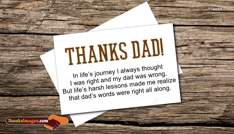 Thanks To My Dad Quotes | In Life